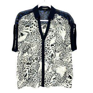 Express Leopard Print Chiffon Blouse Button Top